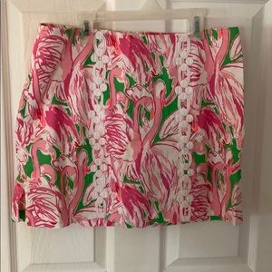 LILLY PULITZER SKIRT WITH WHITE LACE